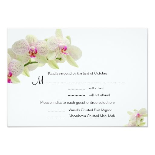 "Beautiful White and Hot Pink Orchids RSVP Cards 3.5"" X 5"" Invitation Card"