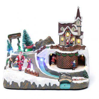 Paisaje de Navidad con música y Papá Noel y elfos en | venta online en HOLYART