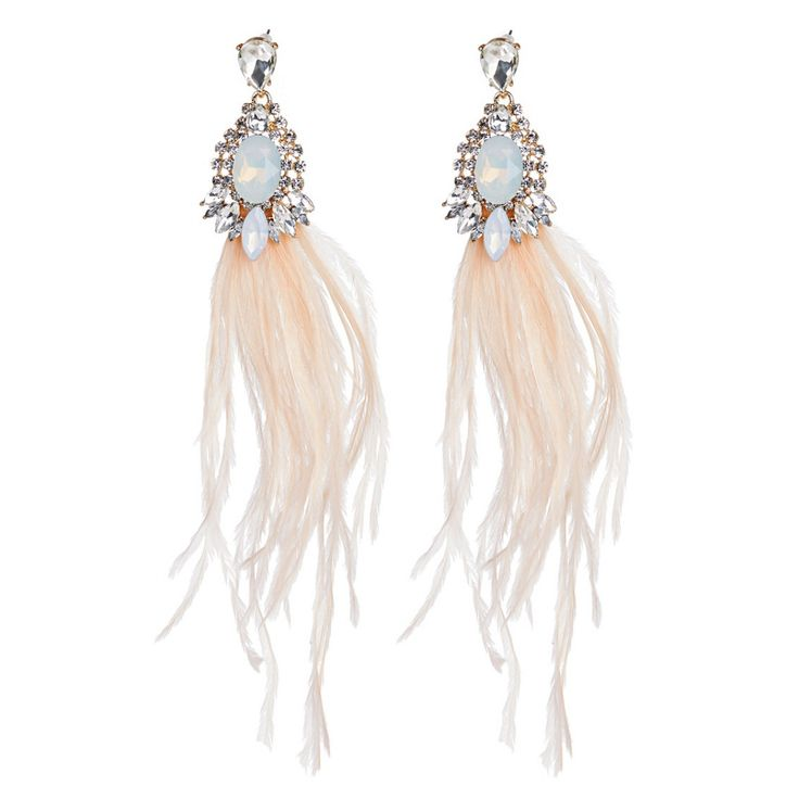 Glamorous Feather Earrings Multi-colour