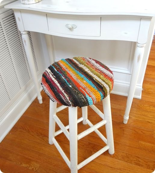 Kim from Made in a Day got an old stool for only $1.99. Kim recovered the seat with a kitchen rug from Wal-mart to mimic the look of hand-woven, recycled fabric stools she had seen at both Pier 1 and Target.
