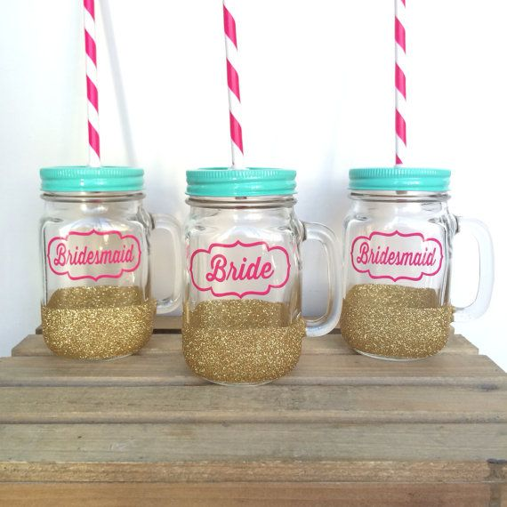 Hey, I found this really awesome Etsy listing at https://www.etsy.com/listing/178673926/bride-and-bridesmaid-tumblers-mason-jar