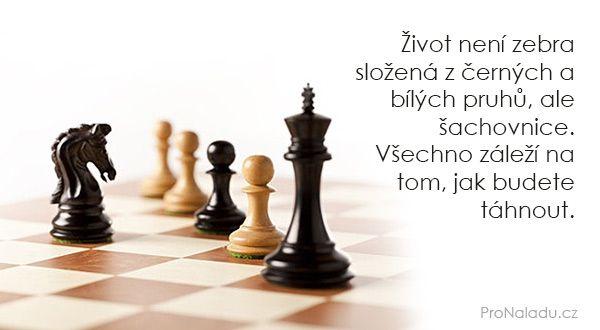 Život není zebra složená z černých a bílých pruhů, ale šachovnice. Všechno záleží na tom, jak budete táhnout.