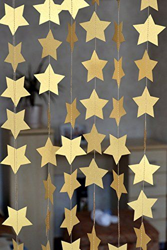 SUNBEAUTY 13Feet Five-pointed Star String Paper Garland Hanging Decoration Wedding Birthday Party Baby Shower Background Decorative Sunbeauty