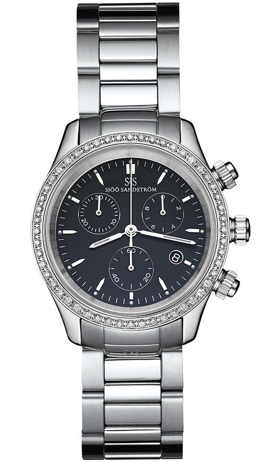 Royal Steel Chronograph 35,5 mm, black dial with diamond bezel and steel bracelet. #sjöösandström #sjoosandstrom #watch #watches #classic #womenwatch #ladies #diamonds