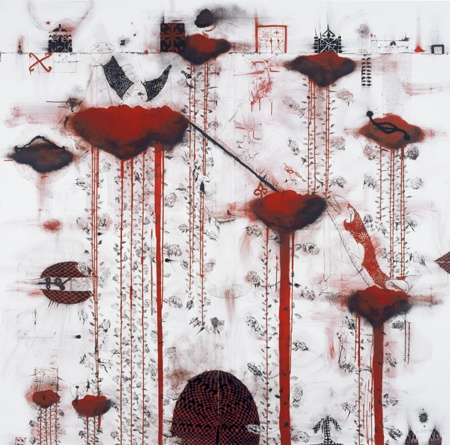 John Pule - I will carry anything that you want, 2006  oil and ink on canvas   2000 x 2000 mm