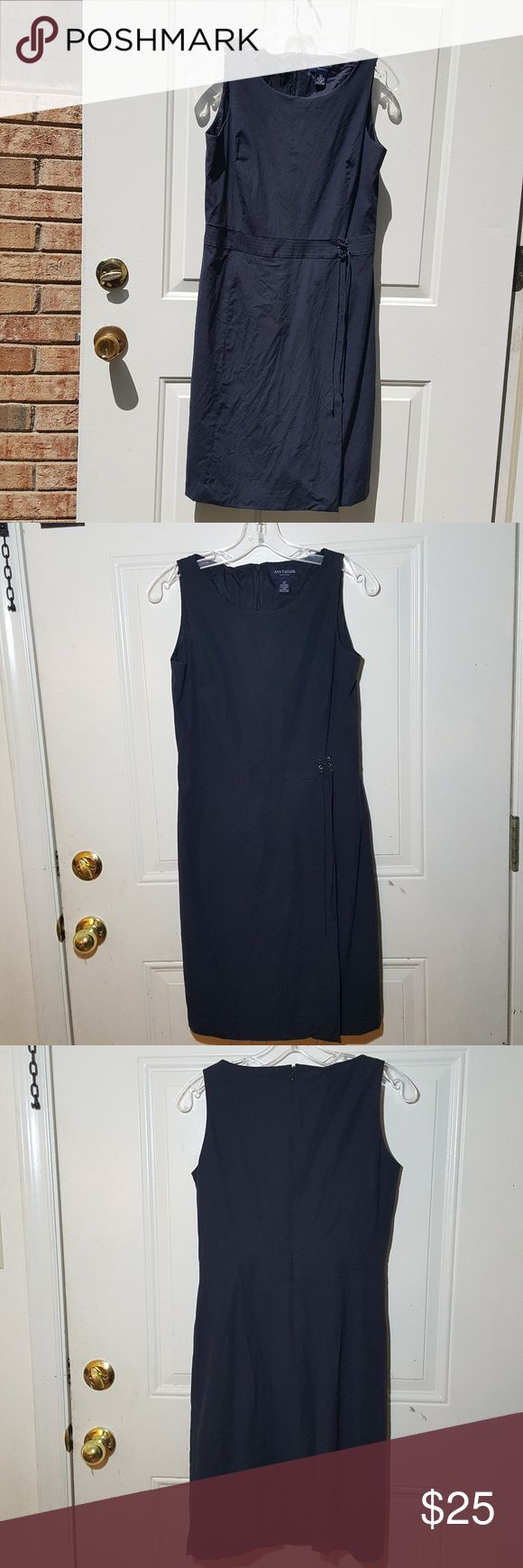 Ann Taylor sleeveless petite dress Ann Taylor  Petite  Size 6P  Navy blue dress with lining on the inside, back zipper. Towards the bottom of the dress there are 2 spots, very minimal and not noticeable as they get covered by the string.   Very nice and can be worn in any occasion. Ann Taylor Dresses