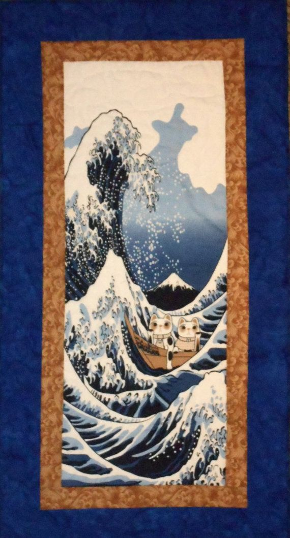 quilted wall hanging tenugui japanese fabric with cats tsunami and mount fuji art panel in blue. Black Bedroom Furniture Sets. Home Design Ideas