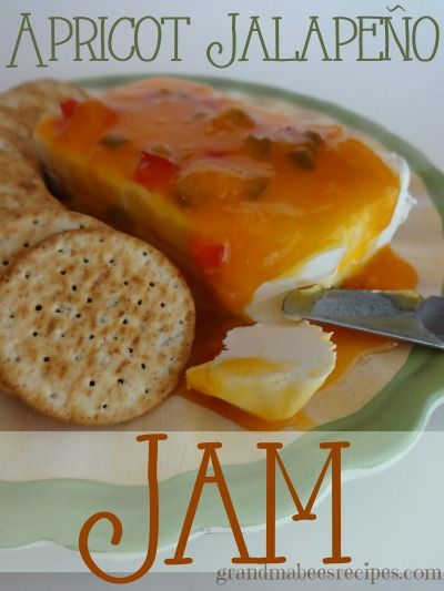 Apricot-Jalapeno Jam - This is amazing poured over a block of softened cream cheese and spread on crackers!