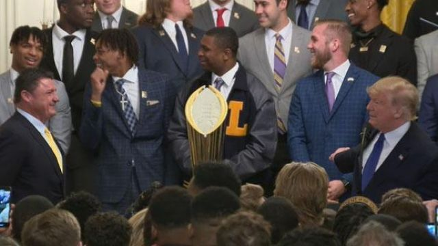 President Trump Welcomes The National Champion Lsu Tigers To The White House In 2020 Ncaa Champion Lsu Tigers Lsu Tigers Football