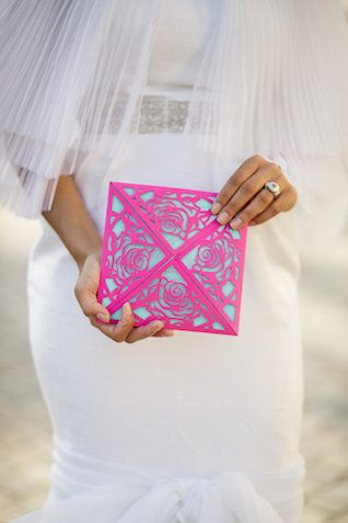 This Rose laser cut invitation is it available at stationerybliss.com   Mexican wedding invitation | by Petronella Photography | see more on: http://burnettsboards.com/2014/05/mexican-wedding-traditions/ #invitation by http://NaturalImpressionDesign #rose #roses