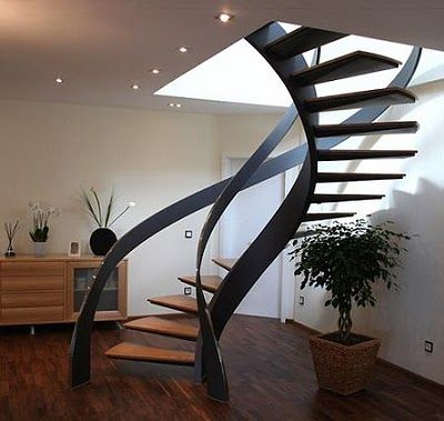 M s de 25 ideas incre bles sobre escalera moderna en for Escalera caracol 2 pisos
