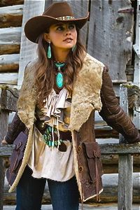 ~ Brit West's Mountain Man Jacket, cowgirl hat with Czech glass peyote beaded hatband and fab turquoise jewelry. ~