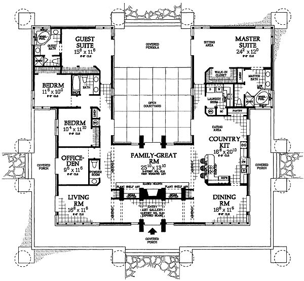 Architectural Designs (Master BR, laundry, dining room, family room & kitchen with its' eating area is a great basic layout. Add a garage along side of MBR, entrance door opening into kitchen eating area.)***********