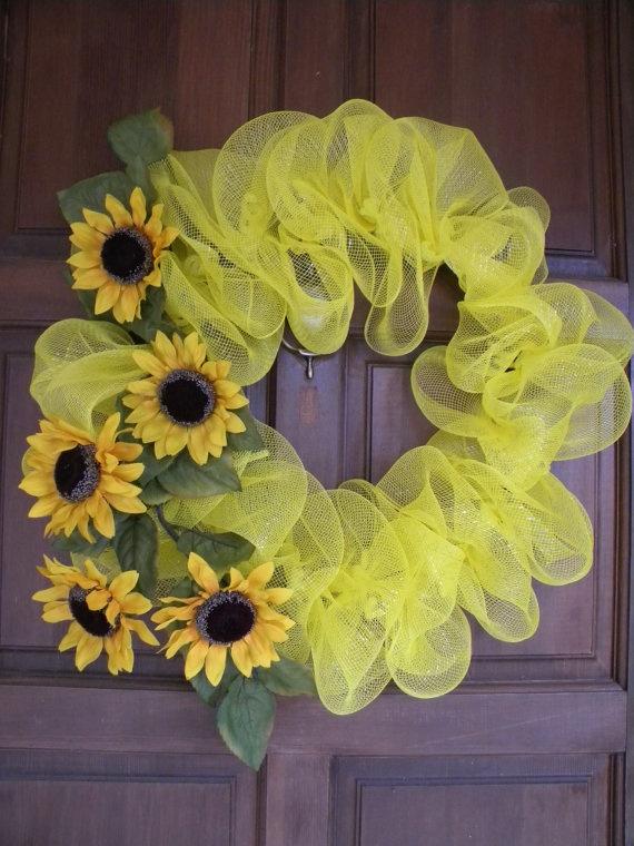 Yellow Sunflower Deco Mesh Wreath. $65.00, via Etsy.