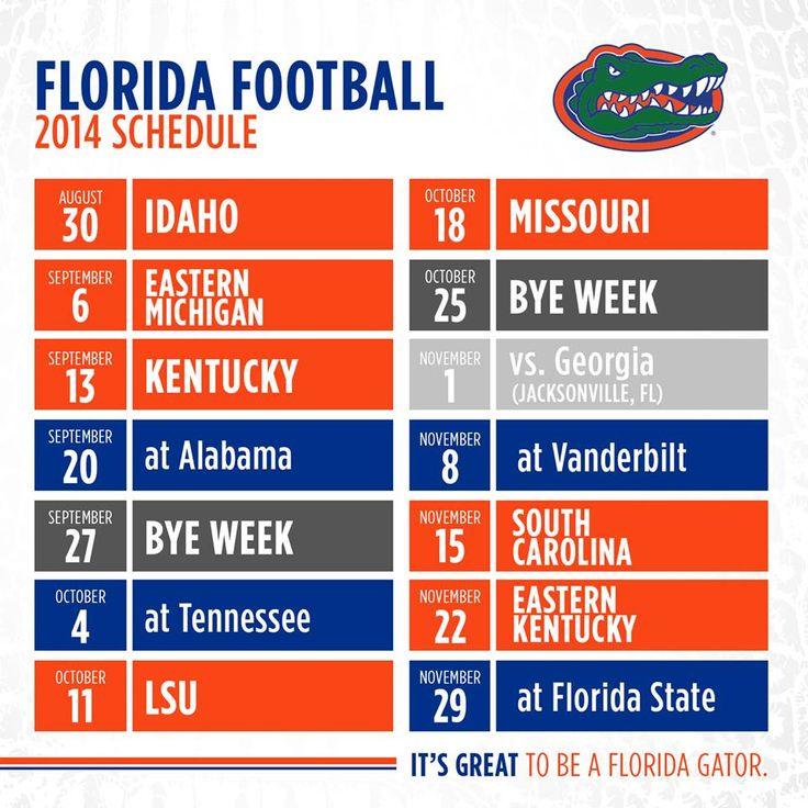 2014 Gator Schedule Go Gators Pinterest