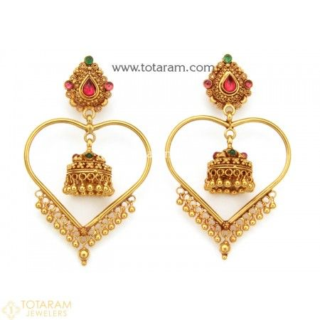Temple Jewellery - 22 Karat Gold Jhumkas - 22K Gold Dangle Earrings - 235-GJH1528 - Buy this Latest Indian Gold Jewelry Design in 17.350 Grams for a low price of $940.55