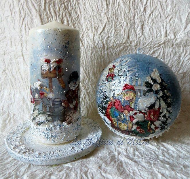 Decoupage su candela, pallina di plexiglas e piattino di vetro con colori in rilievo e pasta neve.