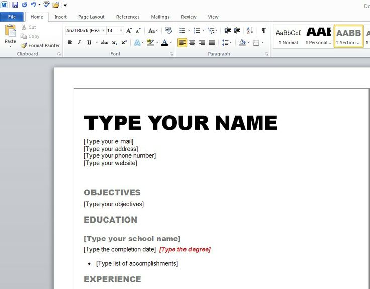 How To Make Resume On Microsoft Word   Template