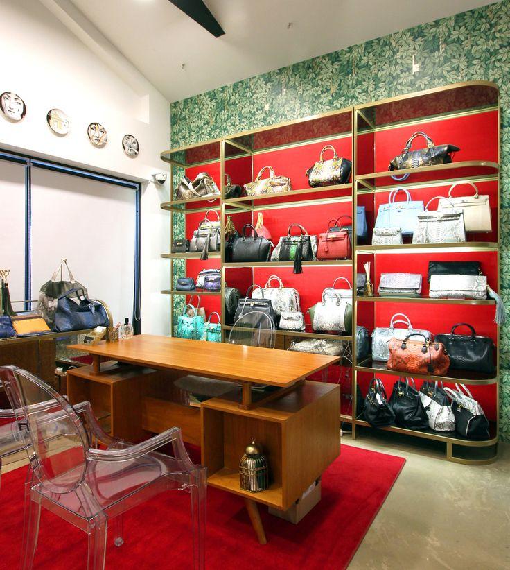 HJL Studio - Glenda Boutique (2016)  #hjlstudio #fornasetti #chiavisegrete #luxuryretail #retaildesign #store #interior #design #seoul #korea #red #gold #wallpaper