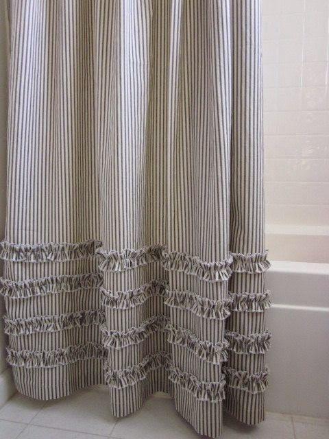 Cortinas De Baño Mas Largas:Brown Ticking Stripe Shower Curtain