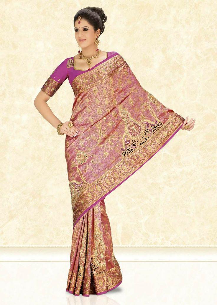 Leelavathi Net hand embroidery Kanchipuram Silk Saree