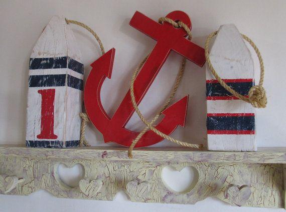 OOAK Reclaimed Wood Buoy and Anchor Set.Nautical Decor.  Beach Decor. Lake Decor. Made to Order. via Etsy