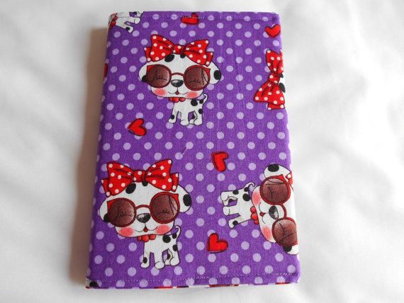 DOG Notebook Cover with notebook A6  Purple background with