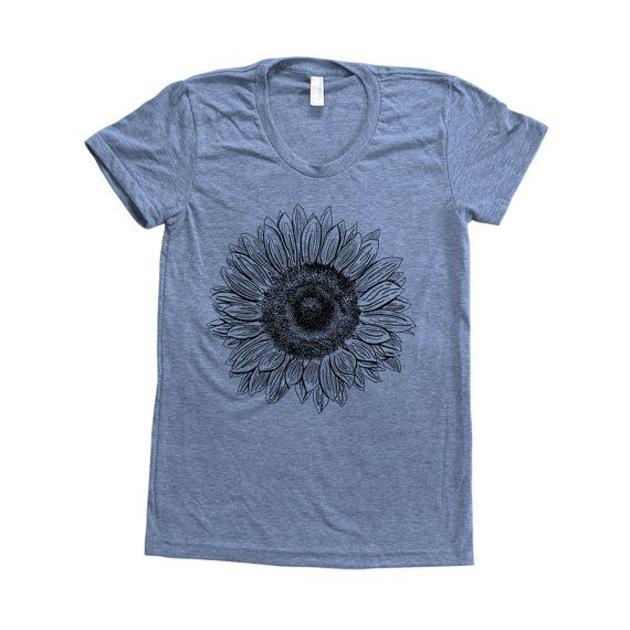 Sunflower Shirt Women Custom Hand Screen Printed by Couthclothing