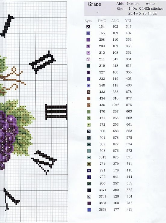Cross-stitch Grapes Clock, part 2..  with the color chart..