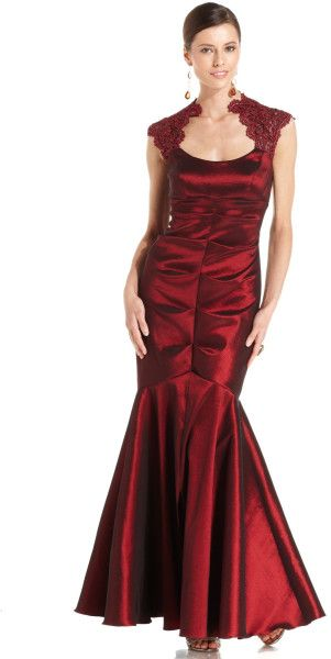 Xscape Capsleeve Glitterlace Mermaid Gown in Red (Purple)