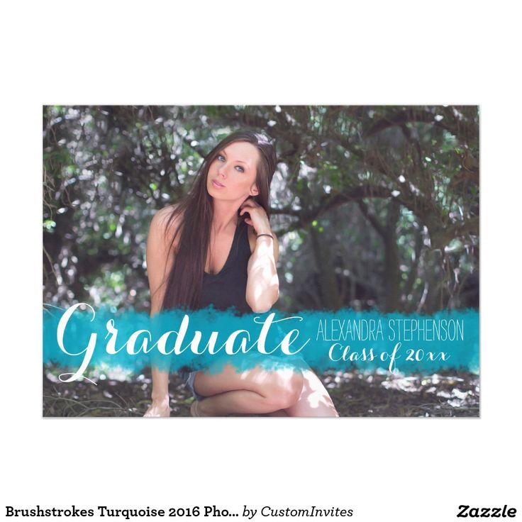 sample open house graduation party invitations%0A Brushstrokes Turquoise      Photo Graduation Party  x  Paper Invitation Card