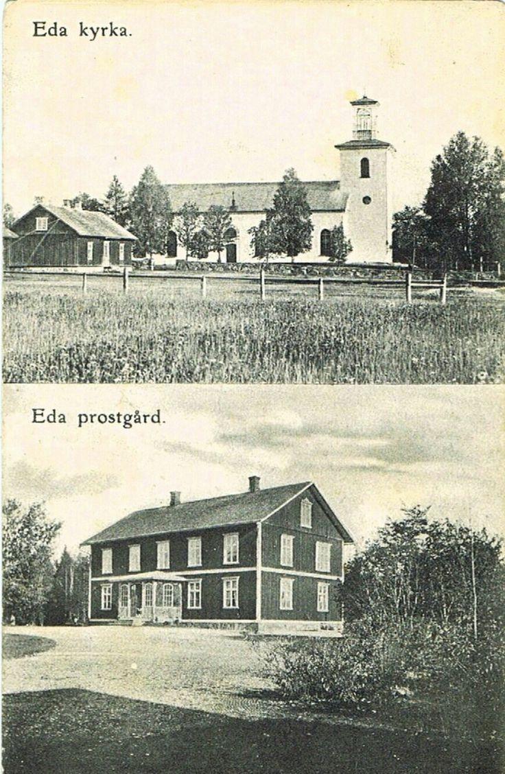 Värmland Eda kommun Charlottenberg Eda kyrka och Prostgård 1950-tallet