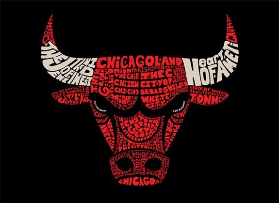 Чикаго Буллз Слово Искусство иллюстрации - изогнутый вверх