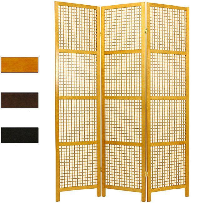 Handmade Miyagi Open Lattice 3-panel Room Divider (China) (Walnut), Brown