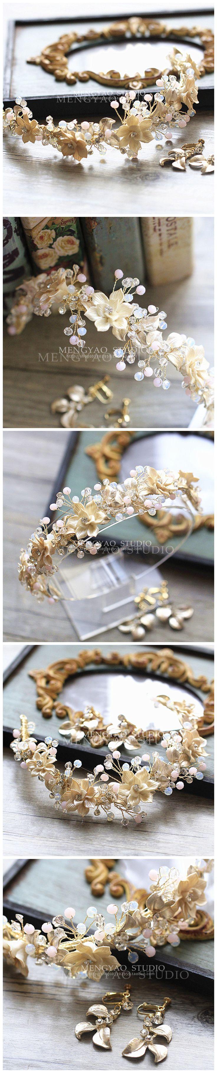 Фея красоты керамические ручной работы розовый Хрустальная корона свадебный головной убор ленты для волос корейских свадебные свадебное платье банкетные аксессуары - Taobao