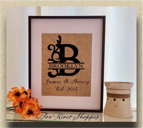 Personalized Split Flourish Monogram Burlap Print with Family Name, Couple's Name, and Year Established - Burlap Wall D�cor - 9008