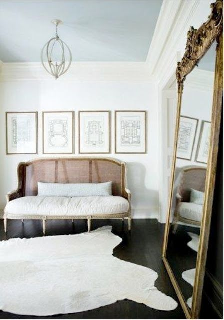 Love the framed architectural prints, and particularly that huge old French mirror  The Design Chaser: Interior Styling