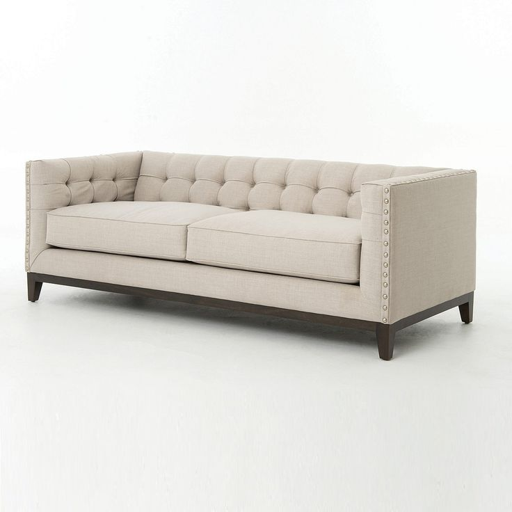 Greenwich Modern Tufted Linen Sofa 178 best