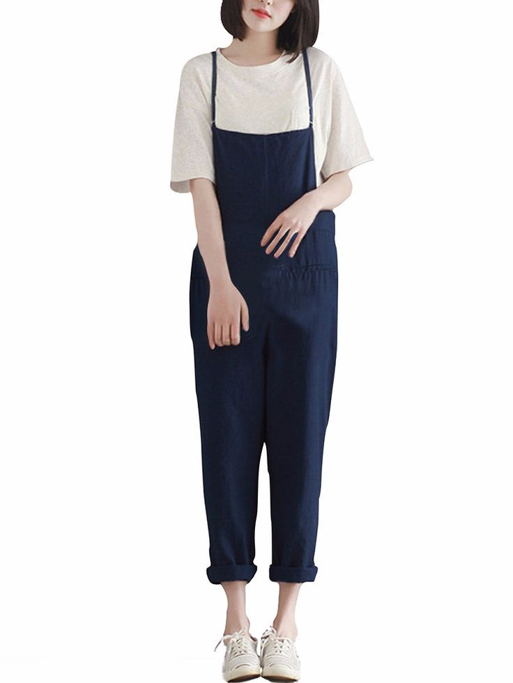 Casual Pure Color Pocket Strap Pants For Women