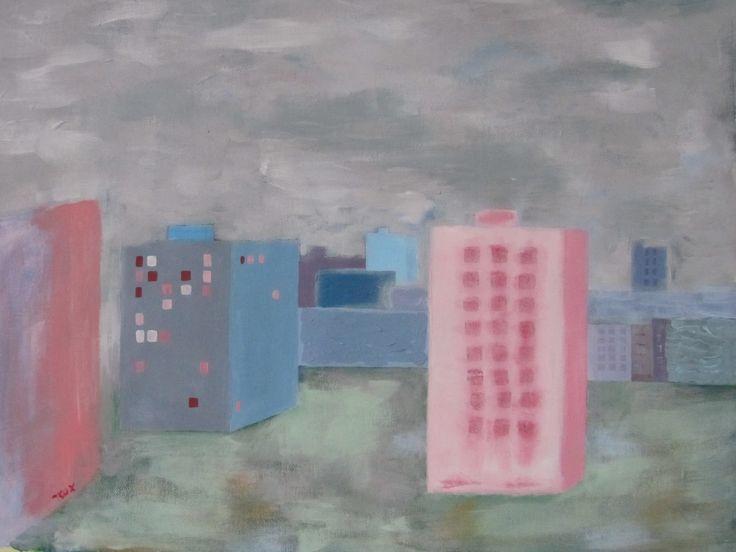 Paneláky v mlze - This is my home Originální malba akrylovými barvami na šepsovaném plátně. Jedná se o pohled z okna mého bytu. Malba je v jemných odstínech od růžové po šedou. Rozměry plátna cca 55x40 cm. Obraz je bez rámu.