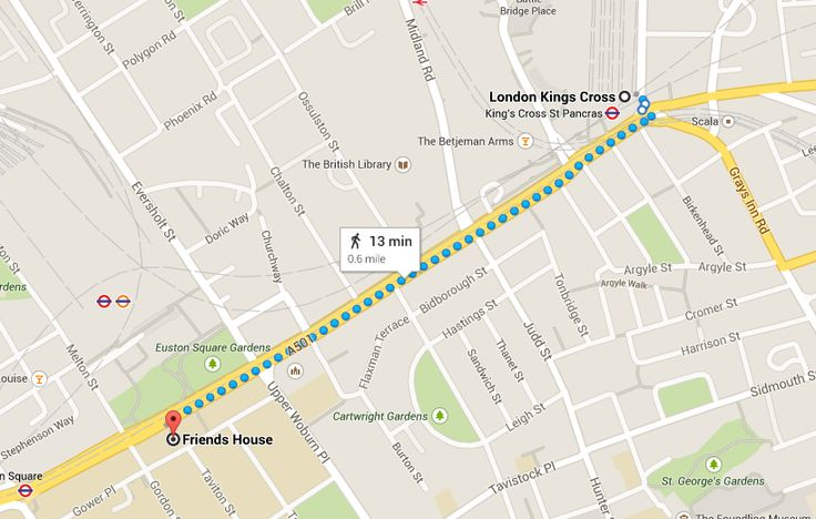 The route from London Kings Cross train station to Friends House.