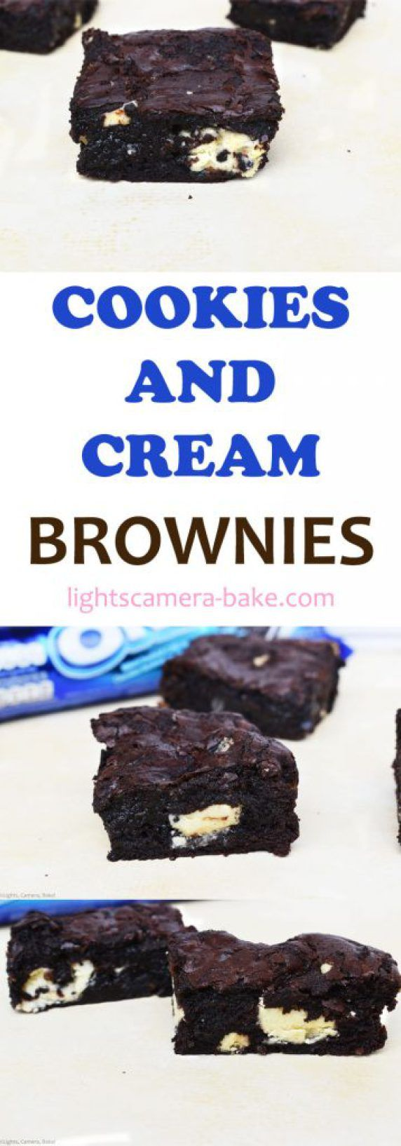 Cookies and Cream Brownies are a rich, dark and fudgy brownie with crushed Oreos and cookies and cream chocolate scattered throughout. Super fudgy and packed full of the cookies and cream flavour.