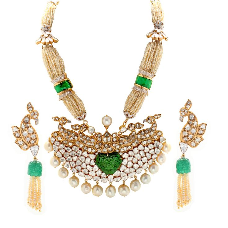 @Anmol Ejaz Ejaz Ejaz Jewellers peacock necklace with polki, carved emeralds and pearls