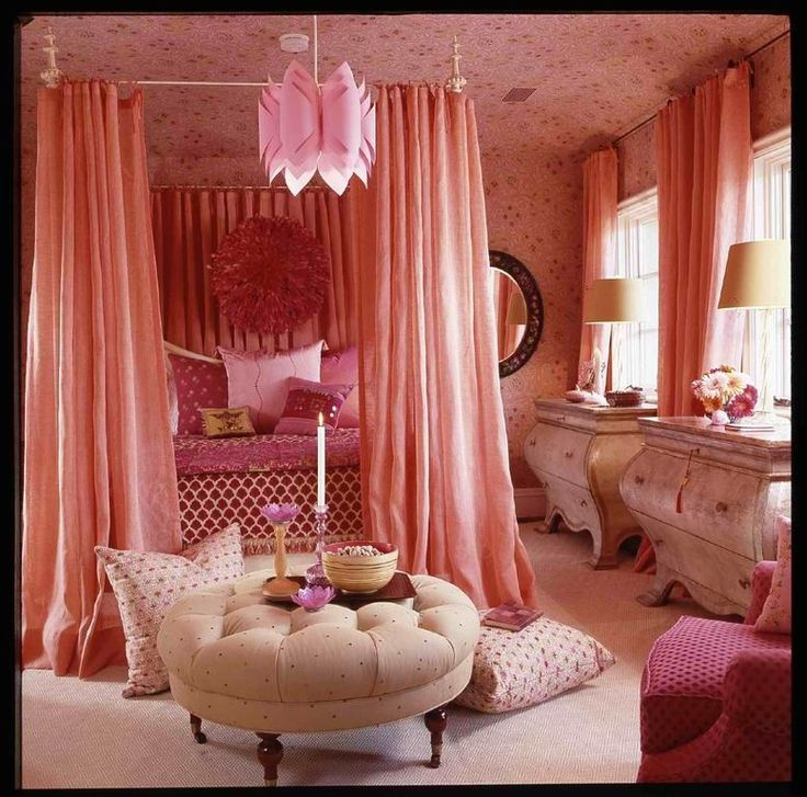 Contemporary Kids Bedroom with Iron canopy bedframe, Pink juju hat, Wallpapered…