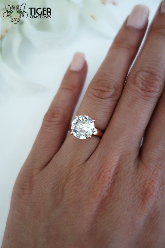 4 Carat Round Cut, Low Profile, Solitaire Engagement Ring, Flawless Diamond Simulant, Wedding Ring, Bridal Ring, Sterling Silver & Rose Gold