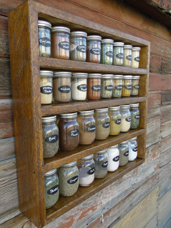 I would do something like this with a tall narrow drawer. I wouldn't want the spices to be out in the open, rather I'd like them to be on display but hidden in the drawer.