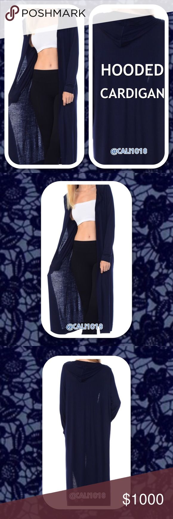 🆕 Navy Midi Length Hooded Duster Cardigan New Missy Hooded Duster Maxi/Midi Length Lightweight Open Cardigan   Color: Navy  Made in USA  Size: Medium, Large, XLarge   Fits true to size  Material: 95% Rayon 5% Spandex  Hooded; Perfect transitional lightweight cardigan. Soft and comfy. Glam Squad 2 You Sweaters Cardigans