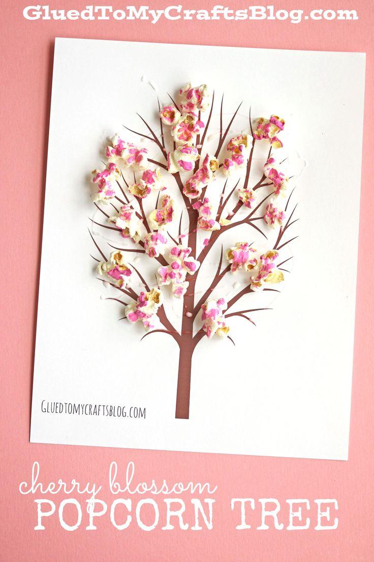 Cherry Blossom Popcorn Tree Kid Craft Idea w/free printable template
