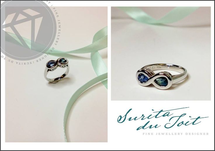 Custom manufactured platinum engagement ring set with natural sapphire. Manufactured by Surita du Toit.