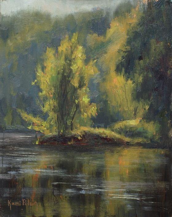 Рано утром свет на реке на Ками Mendlik масло ~ 10 х 8